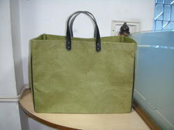 Dyed Jute Bag With Rexine Handle