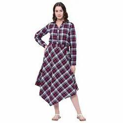 Rayon Checkered Dress