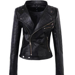 Womens Double Lapel Leather Coat