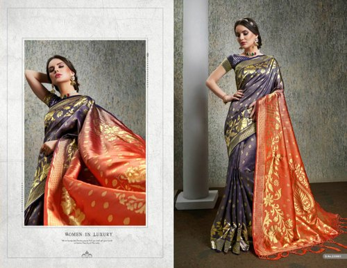 d73794e36d Weaving Party Wear Exclusive Designer Banarasi Silk Saree With Blouse,  Length: 5.5 M