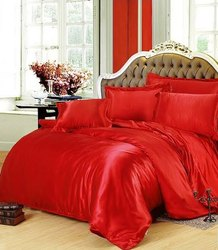 Red Satin Bed Sheet