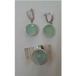 Shining Aqua Calci Gemstone Earring 925 Sterling Silver Handmade Gemstone Jewelry