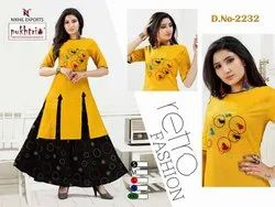 Cotton Flex Top With Chanderi Silk Skirt (Embroidery)