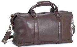 Brown Plain Leather Travel Bag