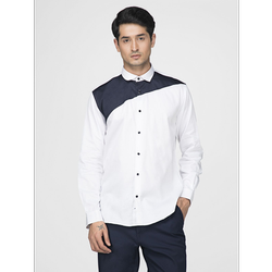 Green Hill Men's Designer White Triangle Shirt