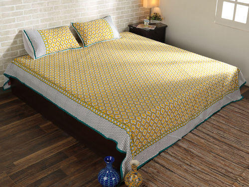 Cotton Yellow & White Boho Queen Size Bed Sheet with Pillow Cover