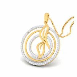 Round Shape Designed Diamond Gold Pendent