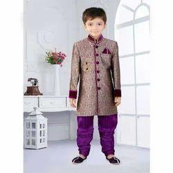 Tussar Silk Self Printed Kids Designer Sherwani