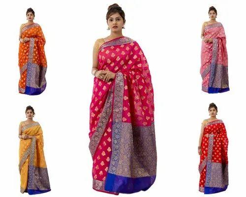 5-7 Color Party Wear Silk Banarasi Saree, Length: 5.5 Meter