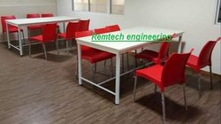 Remtech White Hotel Dining Table And Chair, Set Size: Set of 6