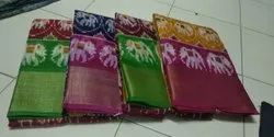 Party Wear Printed Pochampally Silk Saree, 6.3 m (with blouse piece)