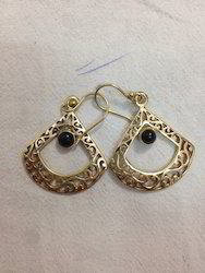 Gold Plated Brass Round Earring
