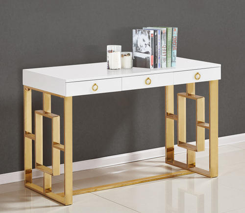 Brooks Contemporary 3 Drawer Writing Desk Gold
