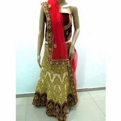 Maroon, Golden Semi-stitched Ladies Bridal Designer Lehenga, Packaging Type: Box