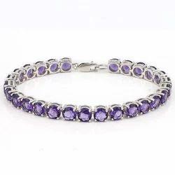 925 Sterling Silver Amethyst Tennis Bracelet