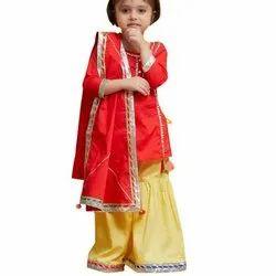 Kids Silk Sharara With Kurta Suit
