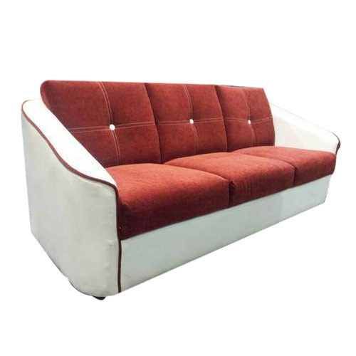 Mangalam Furnitures Red White Wooden Sofa