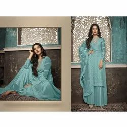 Pransul Fashion Faux Georgette Heavy Embroidered Worked Palazzo Style Salwar Suit