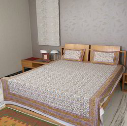 Yellow Block Print Designer Cotton Double Bed Sheets with Pillow Cover
