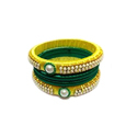 Market Connect Yellow And Green Designer Silk Thread Bangle