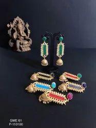 Panaah Jewellery Studio Medium Artificial Golden Matte Earrings GME 61