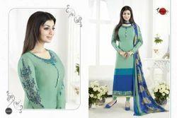 Full Sleeve Crepe Silky Salwar Suit Fabric