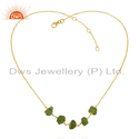Natural Peridot Gemstone Designer Gold Plated Silver Necklace