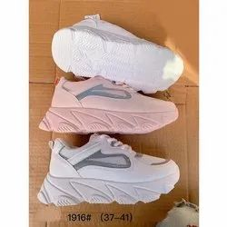 Women White, Pink Ladies Fancy Sports Shoes, Size: 37-41