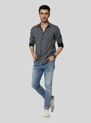 Collar Neck Printed Black Paisely Shirt
