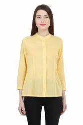 Uptown Galeria Cotton Yellow Ladies Shirt