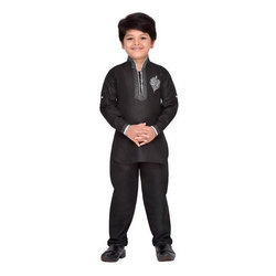 531da247d1 Black Blended Cotton And Polyester And Kids Pathani Suit For Boys ...