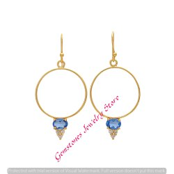 Blue Topaz Hydro & White CZ Gemstone Earring