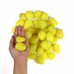 Natural Stone,Pebble Stone Dyed, Smooth, Matte Lemon Yellow Candy Pebbles, Dimensions: 26 Mm