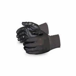 Black Nylon Knitted On Black Nitrile Hand Gloves