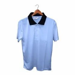 Sky Blue And Butter Yellow Sublimation Collar T-Shirt