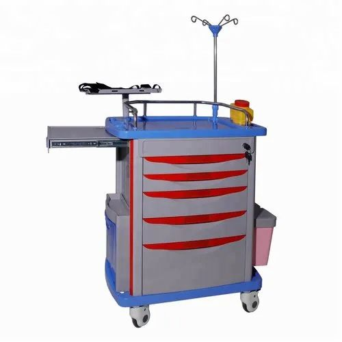 ABS,Plastic Emergency Trolley/Bedside Table, For Hospital,Clinic, Size: 3-4  Feet Height, | ID: 22245596991