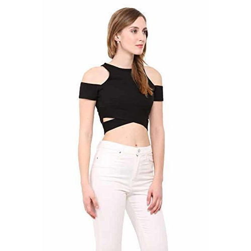 0444a4adb3 Le Bourgeois Large And XL Ladies Crop Top With Cut Out Sleeve