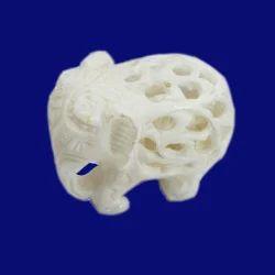 White Marble Undercut Elephant Statue
