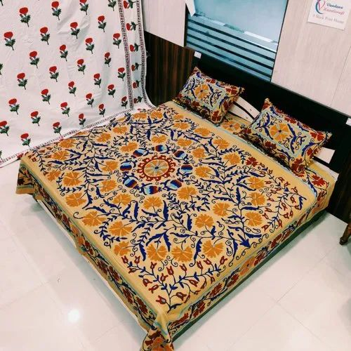 Hand Embroidery Colourful Bed Cover