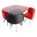 Red / Black Av Furnitures Dining Table 4 Seater, Warranty: 1 Year
