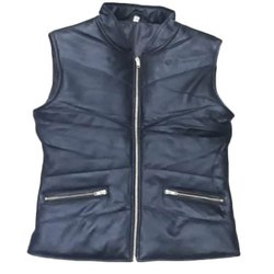 Black Casual Wear Mens Sleeveless Leather Jackets, Size: S - XXL