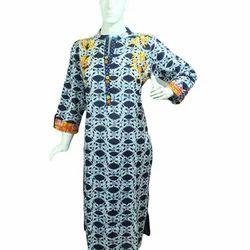 Ladies Cotton 3/4th Sleeve Kurti, Size: S, M & L