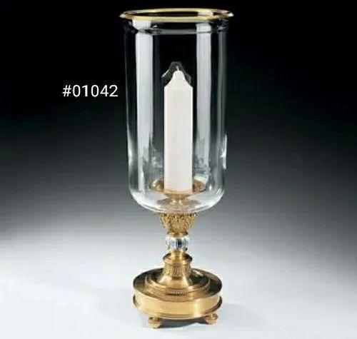 Brass and glass Brass hurricane lamp