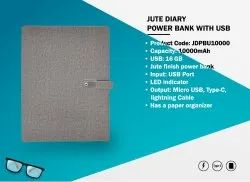Jute Diary With Power Bank 10000mAH and 16GB