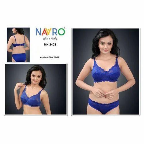 7ef96ae418 Cotton Navro Blue Bra Panty Set