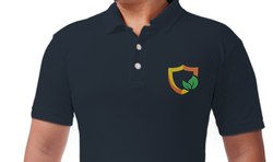 Cotton Casual Wear Custom Embroidered T Shirt - Polo Neck