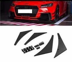 4 Matte Black Car Bumper Lip Fins Canards Splitter Diffuser Valence Spoiler Lip