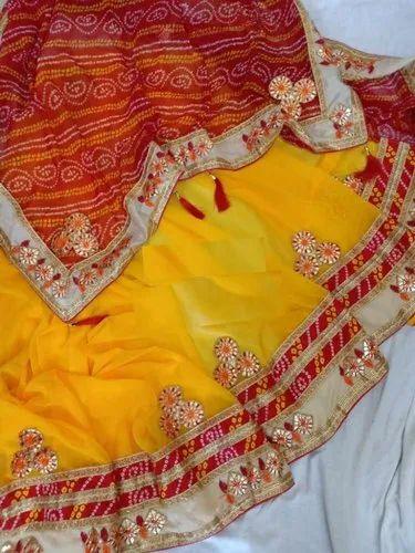 e9b8a95af1 Chiffon Bandhani Saree With Blouse Piece, Saree Length: 5.2 M, Rs ...