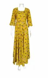 Stitched Multicolor Rayon Gown, Age Group: 25-80