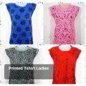 Ladies Round Neck Printed T Shirt